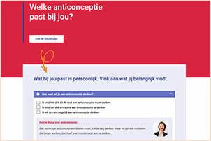 Anticonceptievoorjou.nl biedt o.a. een keuzehulp voor de best passende anticonceptie. Gemaakt door Rutgers.