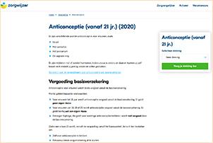 Informatie over vergoedingen van anticonceptie door zorgverzekeraars. Gemaakt door vergelijkingssite Zorgwijzer.